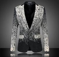 Wholesale Large Men Suits - Foreign trade large size men's suits embroidered Slim gradient color suit jacket casual civilian clothes suit male