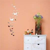 Atacado 25PCS / 1Set 3D Butterfly Mirror Wall Sticker Home Decorações DIY Silver Gold Black Large Decals