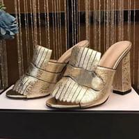 ante de las señoras zapatillas al por mayor-Zapatillas con flecos Cuero de gamuza Sandalias de verano Mujer Tacones Chunky 10.5 cm diapositivas Señoras Zapatillas Moda Nuevo 2017