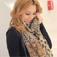 Wholesale Cool Silk Scarves - Wholesale- Noble Fashion Women's Long Soft Wrap Lady Shawl Silk Leopard Chiffon Scarf Cool