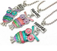 Wholesale Forever Kids - Wholesale-Best Friends Forever BFF pendant charm beaded chain multi mix colorful epoxy glitter glass kids cute lovely owl necklace 3pc set