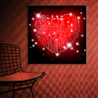 Wholesale Oil Painting Red Love Heart - Wall Art Red Love Heart LED Flashing Paintings On Canvas Stretched LED Canvas Print For Home Decoration