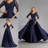 Wholesale Black Lace Exquisite Evening Dress - 2017 Long Sleeves Exquisite Mother of the Bride Gowns Sheer Illusion Appliques Beaded A Line Long Formal Evening Gowns Custom Made Navy Blue