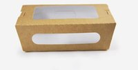 Wholesale Wholesale Take Out Box - Oil Proof Food Grade Kraft Paper Box With Window Party Salad Box Fruit Take Out Packaging Box Free Shipping ZA3880