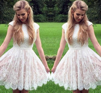 Wholesale Lace Dresses For Young Girls - High Neckline Short Homecoming Dresses With Short Capped Sleeves Beaded Lace Sash Mimi Prom Dresses Custom Made Cocktail Gown For Young Girl
