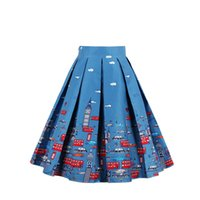 Compra Gonne Per Auto-Blu scuro blu Gonna Donna Adolescenti Junior Adulto A Line Vintage Tutu 3D Floreale Stampato 2017 1950s Swing Cocktail Lavoro Autunno Flared Dress Casual