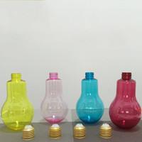 Wholesale milk tea shop for sale - Light Bulb Plastic Bottle Strengthen The Cover Sealed Water Cup Milk Tea Shop Dedicated Bottles Fruit Juice Drink sh