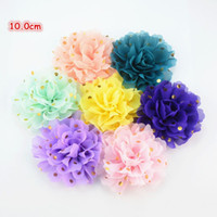 Wholesale Diy Chiffon Flowers Flat Back - 32pcs lot Colorful Chiffon Gold Polka Dotted Fabric Flower Flat Back Newborn Headband Floral Hair Accessories DIY Boutique H0251