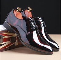 Wholesale Cheap Plus Size Shoes - New Arrival Men Shinny Dress Shoes Pointed Toe Lace Up Patent Leather Party Shoes Man Wedding Shoes Red Pattern Plus Size 12 13 Cheap