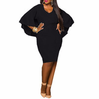 siyah bandaj midi elbise toptan satış-Moda Siyah Kadın Elbise Bayanlar Batwing Kollu V Boyun Pelerin Bodycon Bandaj Midi Parti Vestidos Artı Boyutu L-3XL