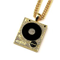 Hip Hop Disc Microfone Pendant Necklace Mens Punk Style 18K Alloy Gold Plated DJ Music Charm Pendant Alta qualidade Cuban Chain