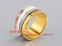 Wholesale Ceramics Rings Rose - free shipping 2017 stainless steel wide white color ceramics with stone rose gold color