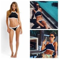 Wholesale Wholesale Women S Swimsuits - Halter High Neck Patchwork Bikini Women Push Up Crop Top Swimsuit Bathing Suit Women Swimwear Suits OOA2544