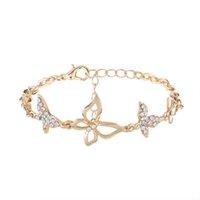 Wholesale Crystal Butterfly Bangle Bracelet - 2017 Butterfly Rhinestone Crystal Bracelets For Women Fashion Designer Punk Party Gift Vintage Bracelets Bangles Chain Jewelry Wholesale