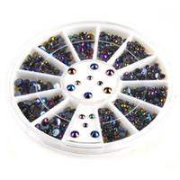 Wholesale Nail Tip Wheel - 300pcs 3D Gems Crystal Nail Art Stickers Tips Glitter Rhinestone DIY Decorations + Wheel 5WAM 7GQU 8UEX