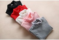 Wholesale Kids White Shirt Rounded Collar - Girls T-shirt chirstmas kids ruffle high collar thicken princess pullover 7 color winter child BOWS pearl applique warm clothing R0153