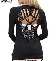 frauen langarmhemd muster großhandel-Großhandels- neue Art und Weise Schädel-T-Shirt Frauen-stilvolle Schaufel-O-Ansatz-langärmlige Aushöhlenschädel-Muster-T-Shirt für Oberseiten-T-Stücke der Frauen 60293