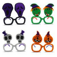lustige stoffe großhandel-Halloween-Gläser-nicht Gewebe-Plastiklustige nette Brillen-Schädel-Kürbis-Geist-Schauspiele für Maskerade-Partei 2 3cl B R