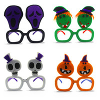 Wholesale Eyeglasses Skulls - Halloween Glasses Non Woven Fabric Plastic Funny Cute Eyeglass Skull Pumpkin Ghost Spectacles For Masquerade Party 2 3cl B R