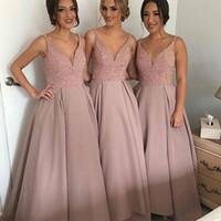 voll beaded prom kleider großhandel-Heißer Verkauf Brautjungfer Kleider Lange Rosa Hochzeit Gast Prom Kleid Sexy V-ausschnitt Voll Perlen Formale Party Kleid 2017 Vestidos