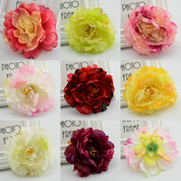 Wholesale Cheap Fake Flowers For Weddings - Wholesale-5pcs Cheap Silk flower peony Artificial Flower Heads for Wedding Home Party Decoration Bride Bouquet Wrist Fake Flower