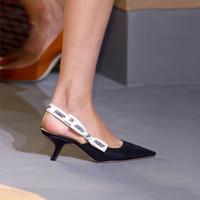 sandalias bajas negras al por mayor-alta calidad ~ u731 cuero genuino negro slingback puntiagudo tacones bajos pisos zapatos sandalias pasarela pasarela vogue diseñador