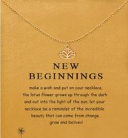 Wholesale Gold Lotus Necklace - With card! cute Dogeared Necklace with Lotus (new beginnings) Silver and Gold color, no fade, free shipping and high quality