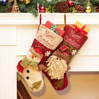 Wholesale Big Snowmen Santa Christmas - Free Shipping Christmas Stocking Big Size Santa Sack Santa Claus Snowman Gift Bags Candy Bags Christmas Pendant Ornament Filler