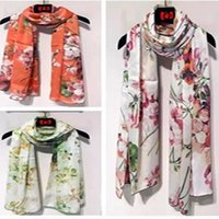 Wholesale GIG colors New arrived classic color Geranium silk long scarf women s silk scraves Top grade silk size cm