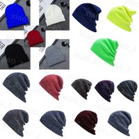 Wholesale Casual Beanie Skull Caps Spring Fall Winter knitted hat ski hat Hip Hop Bonnet men and woman Caps many colors for choose blue black