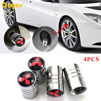 pajero accessories - Car Wheel Tire Valves Tyre Stem Air Caps Cover for Mitsubishi asx lancer l200 pajero Emblems badge Car Accessories Styling