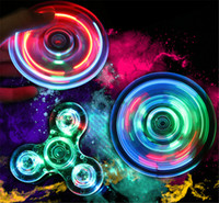 Wholesale Clear Crystal Balls - 2017 Hot Acrylic LED Luminous Glitter Jelly Clear Fidget Spinner Crystal Hand Spinner Tri Fidget Ceramic Ball Desk Focus Toy