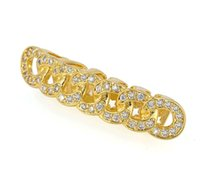Wholesale Dental Chain - Women Men Gold Plated Inlay Micro Luxury Zircon Diamond Chain Top Bottom Hiphop Dental Teeth Grillz Body Jewelry Accessories