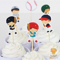 birthday kids supplies 2018 - Wholesale-24pcs Baseball Sport boys candy bar cupcake toppers pick baby shower kids birthday party supplies