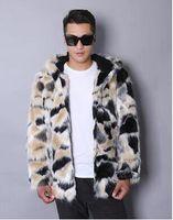 Wholesale Warm Villus - Warm casual faux mink rabbit fur coat mens leather jacket men coats villus winter loose thermal hooded outerwear fashion 2017