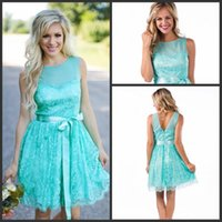 Wholesale Beach Wedding Reception Dresses - Aqua New Short Lace Bridesmaid Dresses 2017 Country Style Summer Beach Wedding Party Reception Guest Dresses with Sash Maid Of Honor Gowns