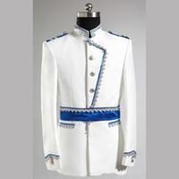 novio de esmoquin blanco boda al por mayor-Al por mayor-Último Escudo Pant Designs blanco y azul del novio esmoquin Slim Fit Mens Wedding Prom Party Suits Bridegroom Traje Jacket + Pants