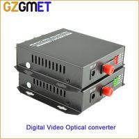 Wholesale Video Optical Converter - 20Km 4CH Digital date Video audio Optical converter BNC FC single fiber   mode fiber optical transmitter & Receiver converter
