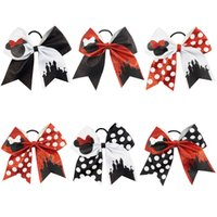 Wholesale Cute Headbands Handmade - New 7 inch Large Glitter Cheer Bows Handmade Cute Mouse Castle Polka Dots Bow with Ponytail Hair Holders for Cheerleading Girls