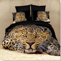 Wholesale Red Black Leopard Bedding - animal 3D leopard tiger lion bed sheet Queen Size 3d 4 pcs bedclothes sets Bedding Supplies sheet quilt cover Pillowcase Home Textiles