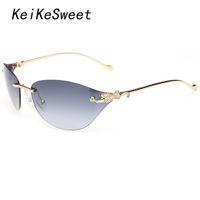 Wholesale Top Frameless Glasses - KeiKeSweet Fashion Brand Designer Lady Rayed Sun Glasses Cat Eye Leopard Woman UV400 Mirror Animal Top Rimless Punk Sunglasses