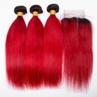 dunkelrote menschliche haarverlängerungen großhandel-Ombre Farbe Dark Red Gerade Menschenhaar 3 Bundles Mit Spitze Schließung Dunkle Wurzel 1B Rote Haareinschlagfaden Erweiterungen Mit Top Verschluss