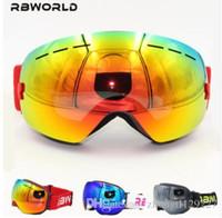 Wholesale Ski Mask Glass - New RBWORLD brand ski goggles double layers UV400 anti-fog big ski mask glasses skiing men women snow snowboard goggles GOG-201