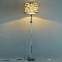Wholesale Simple Floor Lamps - Blue Crystal Fabric Living Room Floor Lamps European Simple Study Room Floor Lamp Bedroom Floor Lights Fixtures