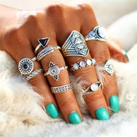 Wholesale Jewellery Vintage Rings - Fashion Leaf Stone Midi Ring Sets New Vintage Crystal Opal Knuckle Rings for Women Anillos Mujer Jewellery 10PCS Lot