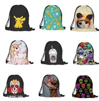 Wholesale Wholesale Pikachu Animal Backpacks - Emoji Backpack Cartoon Animal Kids School Bags 3D print travel backpacks Emoji Skeleton Pikachu drawstring bag 24 styles Gift for Kids D912