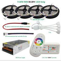 Wholesale Mushroom Kits - DC12V LED Light RGBW RGBWW 5050 Led Strip IP65 IP20 Led Flexible Tape+2.4G RF Remote Controller+Power adapter Kit 20M 15M 10M 5M