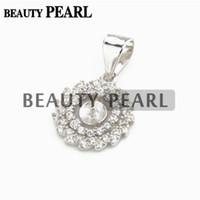 Wholesale sterling silver small pendants - Bulk of 3 Pieces 925 Sterling Silver Spiral Pendant Small Pearl Settings Zircon Findings Semi Mounts