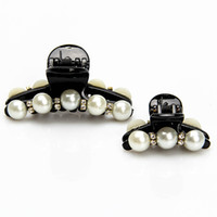 Wholesale Big Rhinestone Hair Claw Clips - 12pcs lot Women Claws Pearl Clips Black Hairpins Small Big Hair Ornaments Fashion Headdress Rhinestone Horsetail Barrettes Accessories