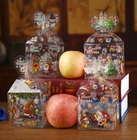 Wholesale Apple Favours - Personalised Christmas Even Clear Gift Box Xmas Printed Snowman Elk Santa Xmas Tree Treats Sweets Candy Apple Boxes favours presents Wrap